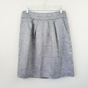 Talbots | Gray Metallic Linen A-Line Pleated Skirt